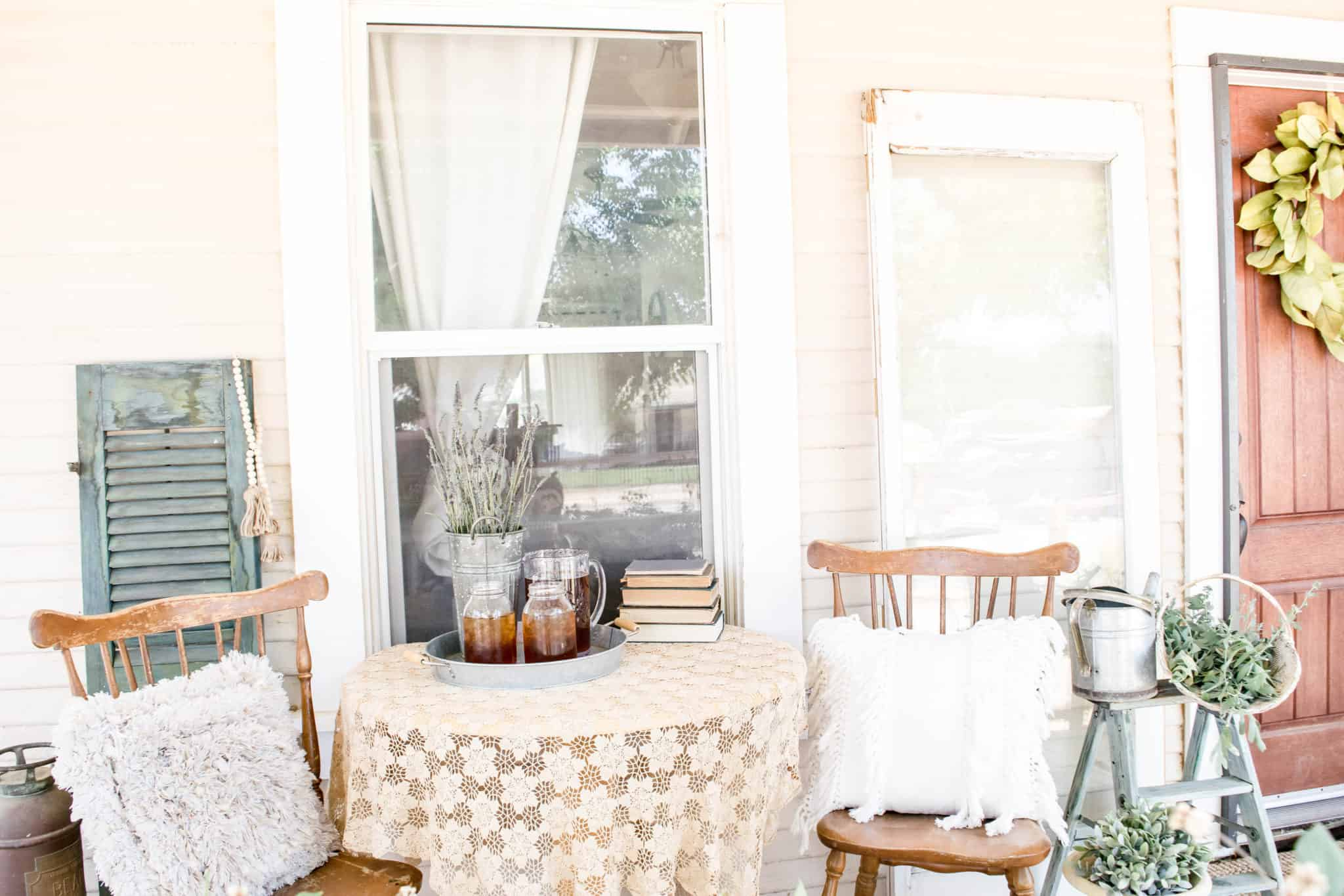 natural and comfy farmhouse front porch