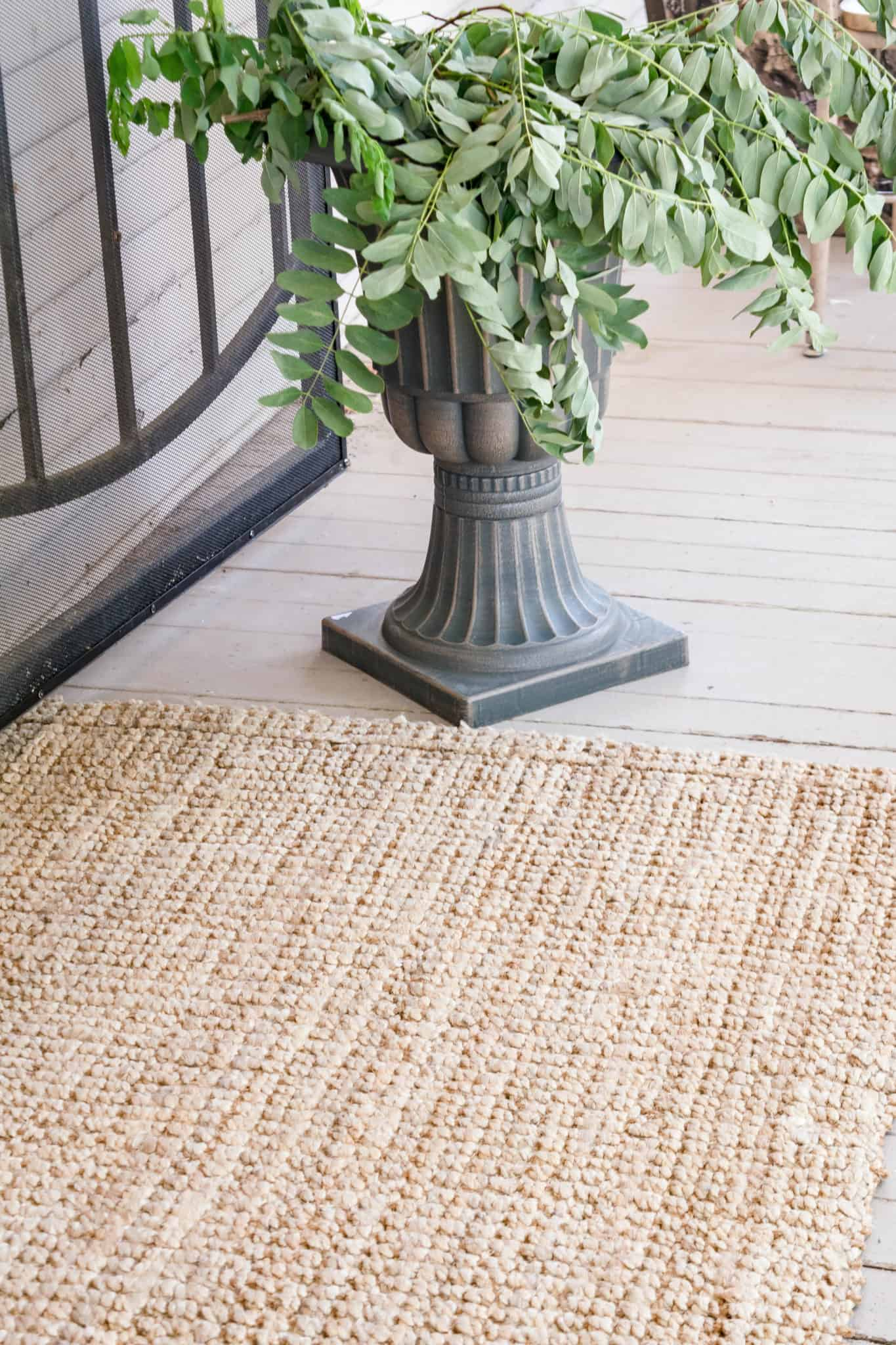 urn with jute rug