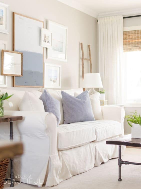 blues and whites in farmhouse living room