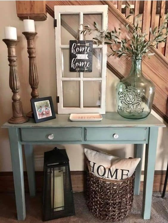 cute rustic end table decorted