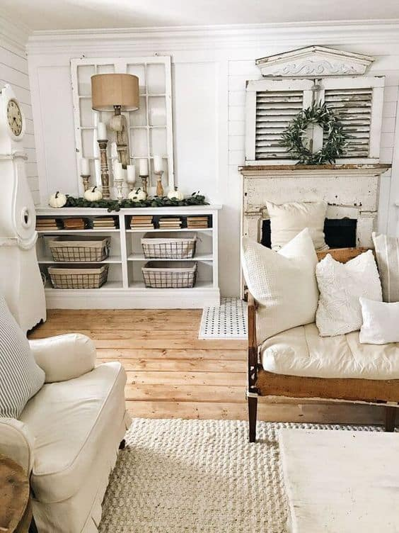 white chairs and couches in a farmhouse living room liz marie blog