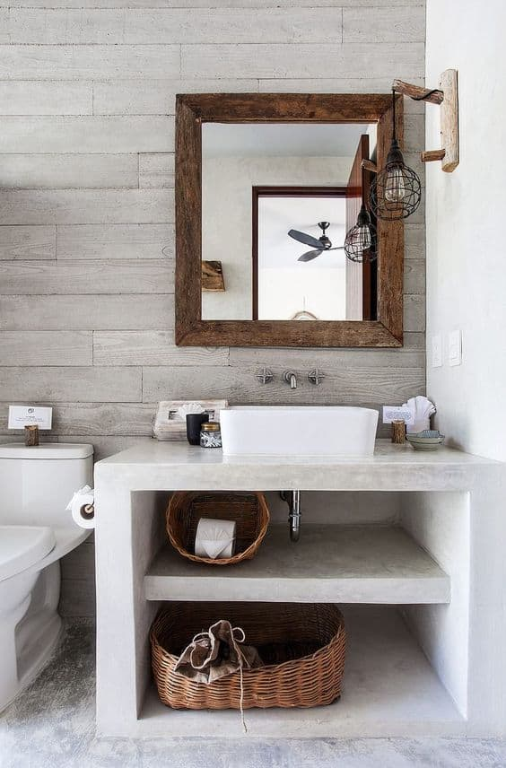 remodel a bathroom into a farmhouse modern style