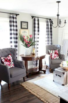 buffalo plaid in living room farmhouse style