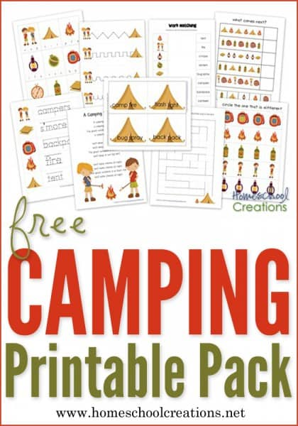 The Camping Preschool worksheet Pack includes some great activities that you all love. Word and letter tracer sheets, early writing strips, a pattern page, find the different object and beginning sound cards along with a few other favorites.