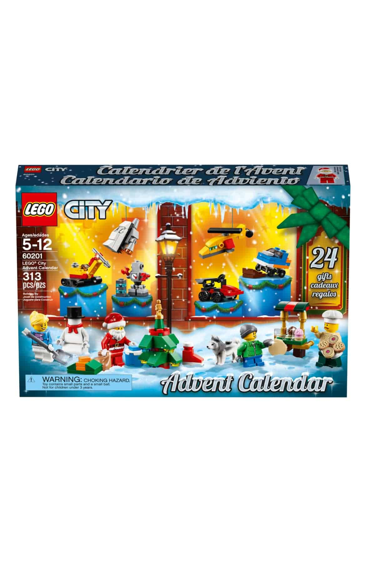 Ring in the holiday season with the fun 60201 LEGO City Advent Calendar. There are 24 different buildable presents, one for each day of the holiday season, including a space shuttle, race car, drone, robot, Christmas tree, monster truck and much more. This LEGO City set includes five LEGO mini figures and a dog figure.