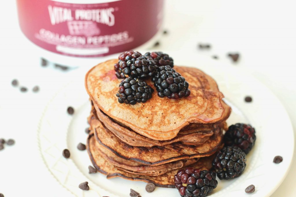 Tracy Lewis Dark Chocolate and Blackberry Protein Pancakes