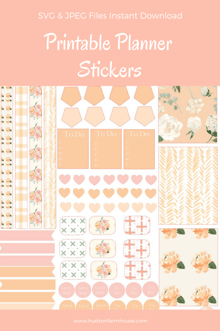 peach farmhouse planner stickers@