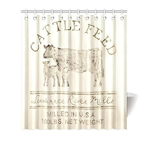 farmhouse cattle feed shower curtain from amazon