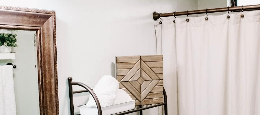 First, if you want to just spruce up your bathroom but don't want to buy a whole new vanity or paint you can easily do that. Just add a new light, hardware, rugs, or shower curtain. If the space is smaller remember light colors are better and when in doubt white! For a list of my favorite farmhouse paint colors from Joanna Gaines and their color matches to Benjamin Moore paint colors click here.