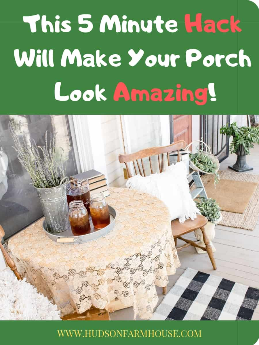 If you want ideas on DIY farmhouse front porches I've got you covered. I will share some ideas and suggestions with you throughout the post as well. Towards the bottom, I added some of my favorite Pinterest porches to take a look at and save for later too.