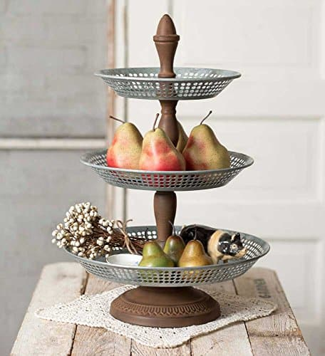 Do you see all the pretty pictures on Pinterest of all the farmhouse 3 tier stands?  Decorating these stands can be pretty easy if you keep a few things in mind.