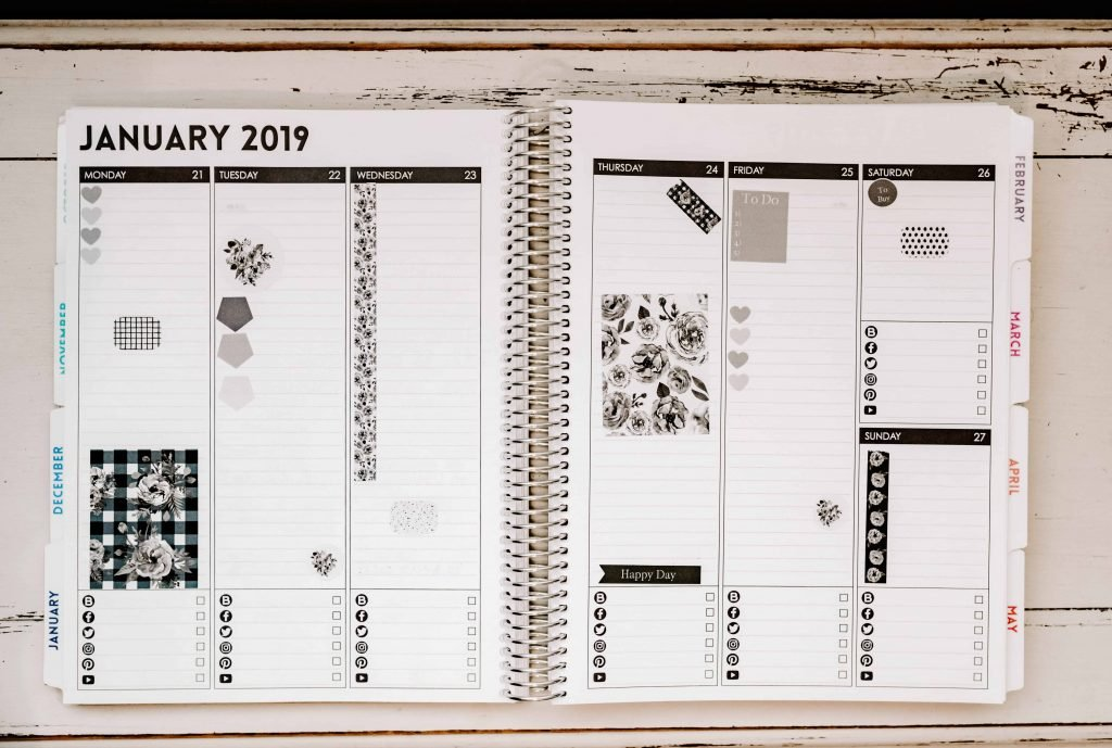 black and white planner 8.5x11 inches