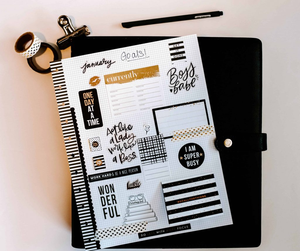 black and white planner stickers on happy planner big ideas with gold foil