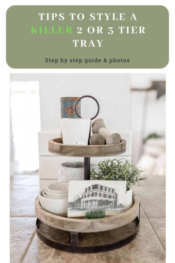 decorate a wooden tiered tray