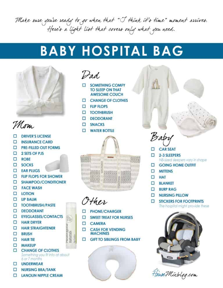 What to pack in your baby hospital bag printable checklist