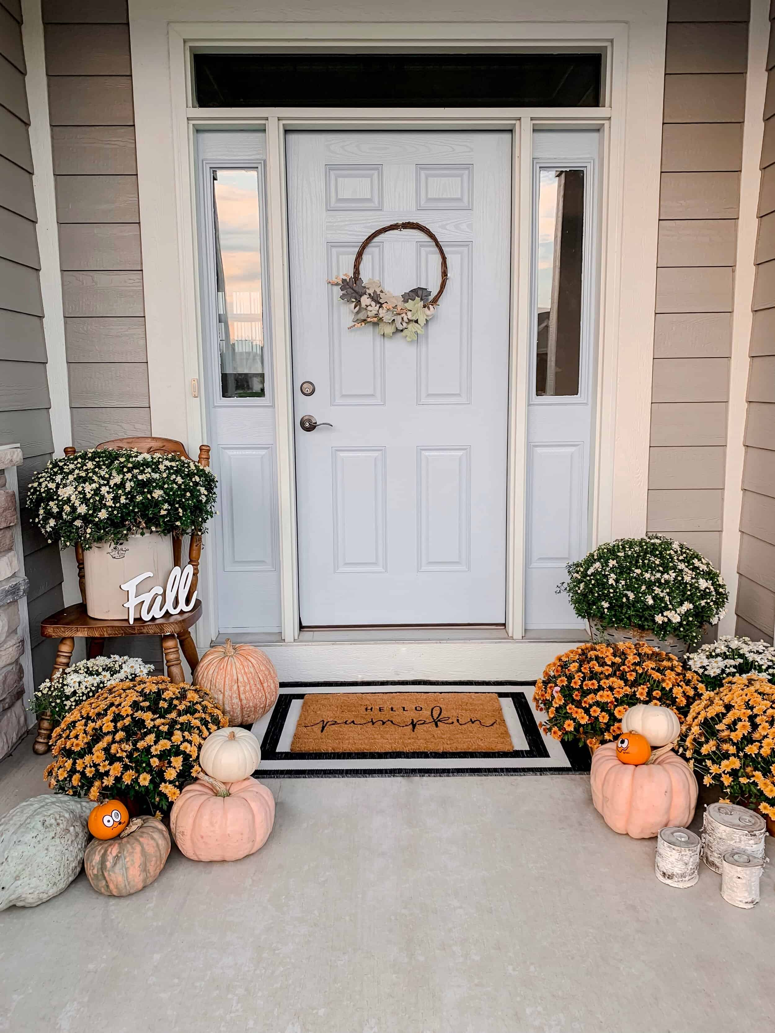 pumpkins and mums for fall front porch