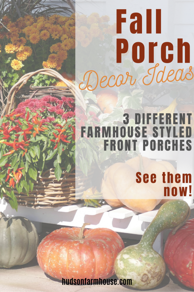 really pumpkins and mums on porch for fall