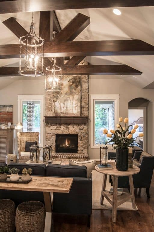 exposed wood beams