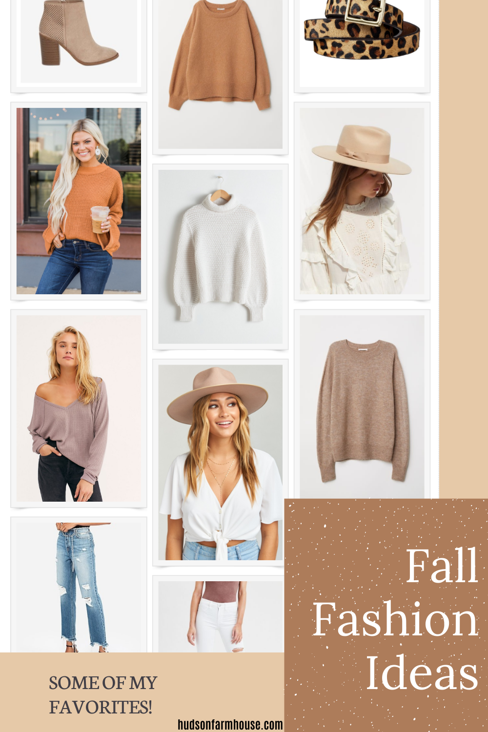 fall clothing items in grid