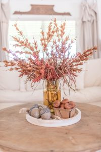 brown fall and autumn decor in basket